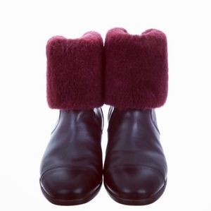 UGG Leather and Merlott Cuff Ankle Boots